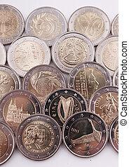 2, muntjes, eurobiljet