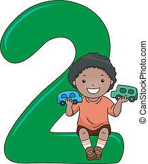 2, número, niño