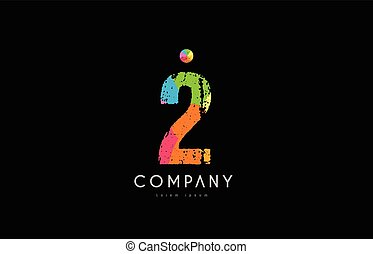 2 number grunge color rainbow numeral digit logo