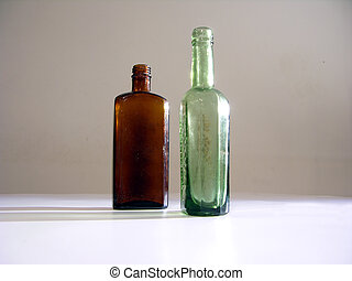 2 old bottles - Excavated old bottles, aproxximately from...