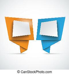 2 Origami Speech Bubbles