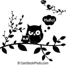 2 Owls, Isolated On White Background, Vector Illustration