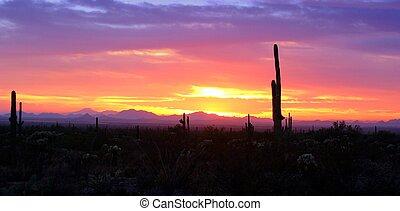 2, pôr do sol, arizona