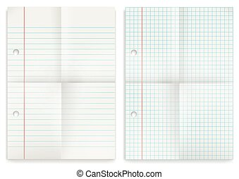 2 Papers Set Squared Feint Ruled Folded