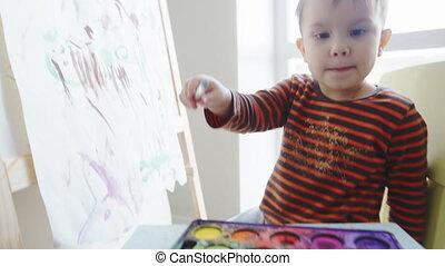 2, peintures, year-old, aquarelles, enfant