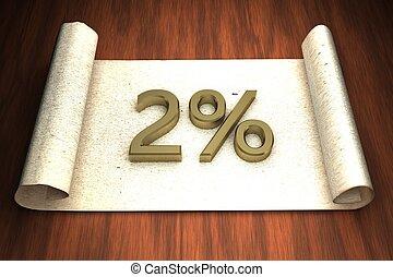 2 per cent, golden numbers, over open paper, 3d rendering