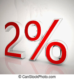 2 per cent over white reflecting background, 3d rendering