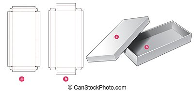 2 piece rigid long box die cut template design