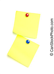 2 post it notes isolated on white with drawing pins.