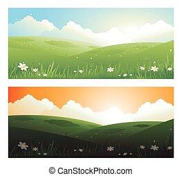 2, primavere, bandiere, paesaggio, giorno, e, sunscape, con, sole, nubi