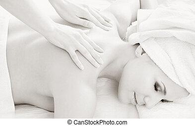 #2, profesional, masaje, monocromo