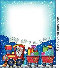 2, quadro, trem, tema, natal