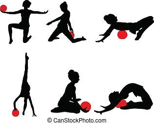 2, ragazza, vettore, -, ginnastica