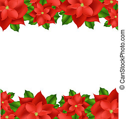 2 Red Poinsettia Border, Isolated On White Background, Vector Illustration