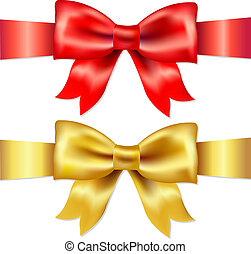 Red And Gold Gift Satin Bow - 2 Ribbons, Red And Gold Gift...