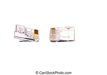 2 RJ-45 connector isolated on white
