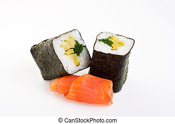 2 rolls of sushi with fish