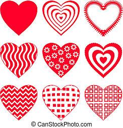 2, sæt, hjerte, valentine