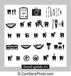 2, símbolos, parte, conjunto, odontología