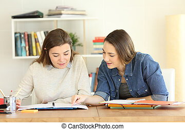 2, scholieren, leren, samen, thuis