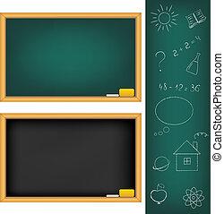 School Boards - 2 School Boards And Drawings Drawn by Chalk,...
