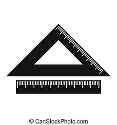 2 school rulers simple icon isolated on white background