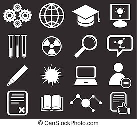 2, science, ensemble, icône, monochrome