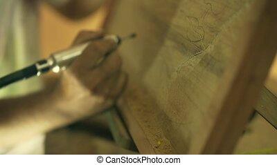 2 Sculptor Painter Artist Chiseling A Wooden Bas Relief