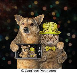 2, selfie, fait, chien, chat