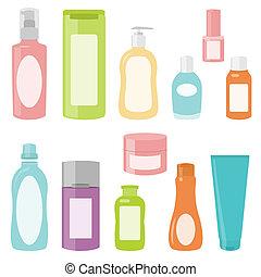 2, set, cosmetica, contenitori