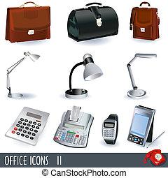 2, set, icone ufficio