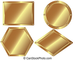 2, set, metallo, oro, piastre