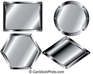 2, set, metallo, piastre