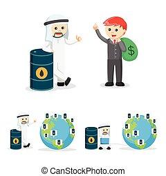 2, set, zakelijk, olie, mensen