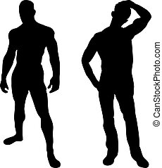 2, sexy, hommes, silhouettes, blanc, fond