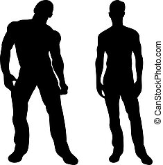2, sexy, mannen, silhouettes, op wit, achtergrond