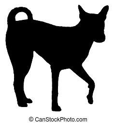 2, silhouette, chien