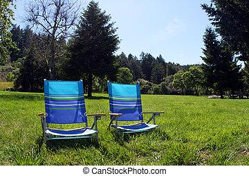 2, sillas, en el parque