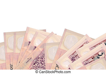 2 Singaporean dollars bills lies on bottom side of screen isolated on white background with copy space. Background banner template