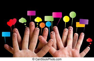 2, smileys, grupo, dedo, feliz