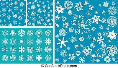2 Snowflakes Seamless Background with mega snowflakes set
