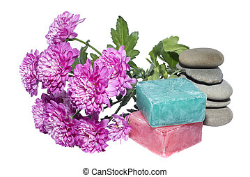 2 soaps and 5 stones and flowers