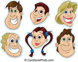 #2, sorridente, frigo, magnet/stickers, faccia