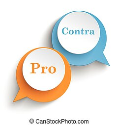 Two speech bubbles with pro and contra on the white background.