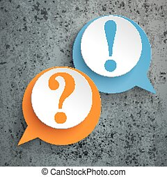 2 Speech Bubbles Question Answer - Two speech bubbles with...