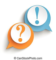 2 Speech Bubbles Question Anwer - Two speech bubbles with...