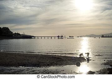 2, spiaggia, kit, tramonto, vancouver, banchina