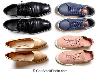 2 sporty and 2 elegant shoes for men and for woman