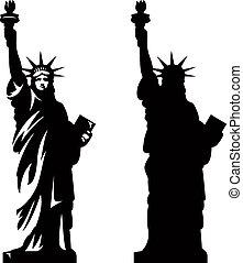 2, statue, liberté
