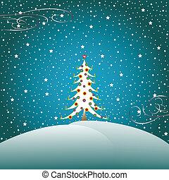 2, stelle, albero, neve, natale